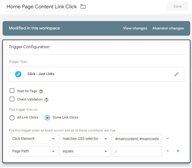 GTM Trigger To Track Home Page Links