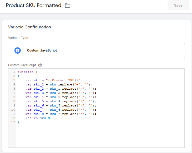 Code To Format Product SKU