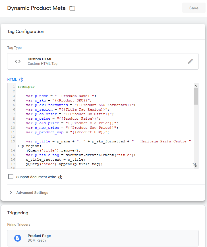Dynamic Product Meta Data Tag