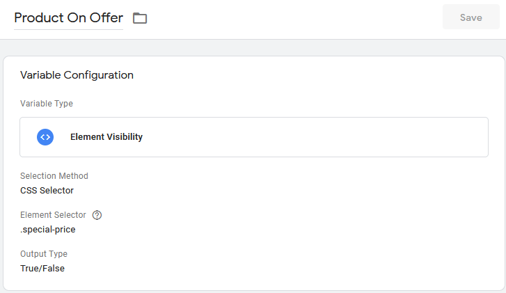 Product On Offer Variable