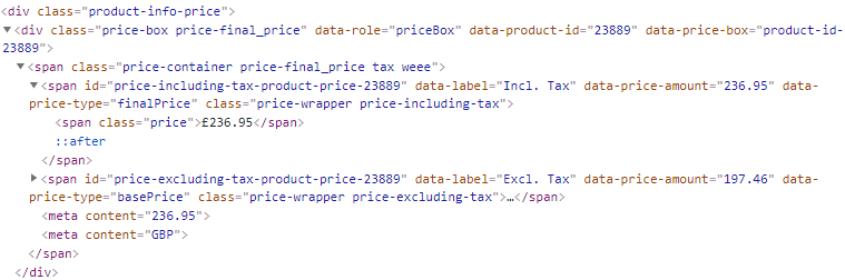 Product Price HTML